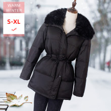 New Fashion White Duck Down Jacket With lamb wool Collar Female Slim Thick Soft Warm Zipper Coat Windproof Good Quanlity Coat(China)