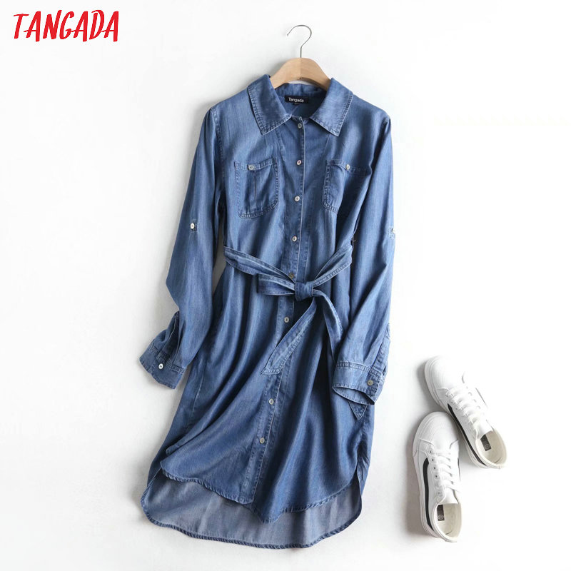 Tangada Fashion Women Solid Blue Denim Dress With Slash Long Sleeve Ladies Casual Midi Dress Vestidos 2P22