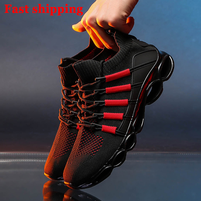 Image 2 - New Fishbone Blade Shoes Fashion Sneaker Shoes for Men Plus Size 46 Comfortable Sports Men's Red Shoes Jogging Casual Shoes 48-in Men's Casual Shoes from Shoes