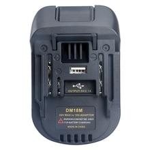 New 20V 18V pil dönüşüm Dm18M Li Ion şarj cihazı aracı adaptörü Milwaukee Makita Bl1830 Bl1850 piller