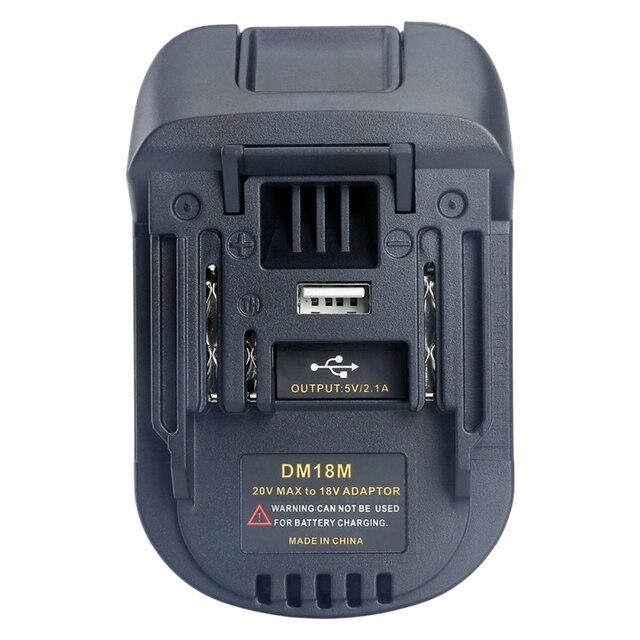 New 20V Per 18V Batteria di Conversione Dm18M Batterie Li Ion Charger Adapter Strumento Per Milwaukee Makita Bl1830 Bl1850