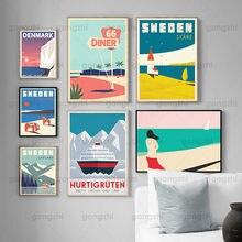 Nordic mundo famoso local de viagem arte cartaz suécia dinamarca dinamarca pintura mural da lona moderna decoração casa sala estar mural