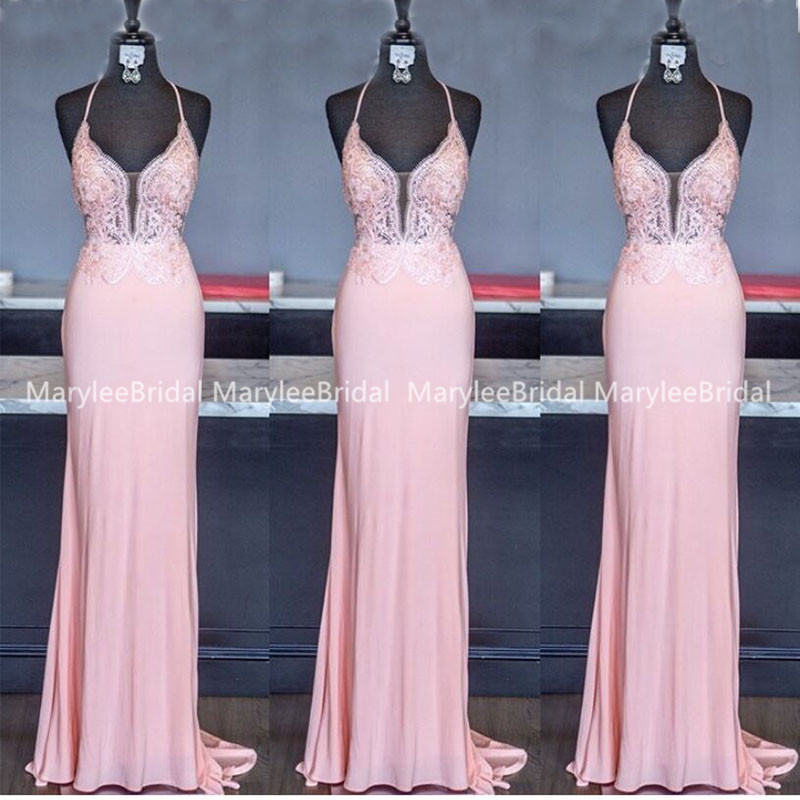 Halter Neck Blush Pink Evening Dress Illusion Bodice Applique Women Party Gown Mermaid Style Sweep Train Vestito Donna Cerimonia
