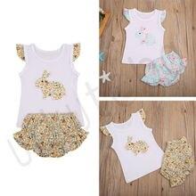 цена на Newborn Toddler Baby Girl Set Sleeveless Cartoon Rabbit Bunny Ear Dress roupa infantil meisjes kleding girl outfits kids clothes