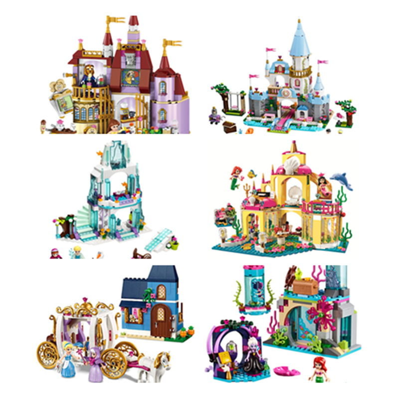 Princess Cinderella Elsa Anna Mermaid Ariel Castle Building Blocks Girl Compatible Legoinglys Friends Bricks Toys For Children
