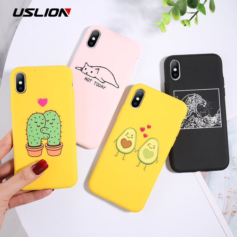 USLION Funny Cartoon Avocado Phone Case For IPhone 7 8 Plus TPU Silicone Back Cover For IPhone X XR XS Max 6 6S Plus Soft Cases