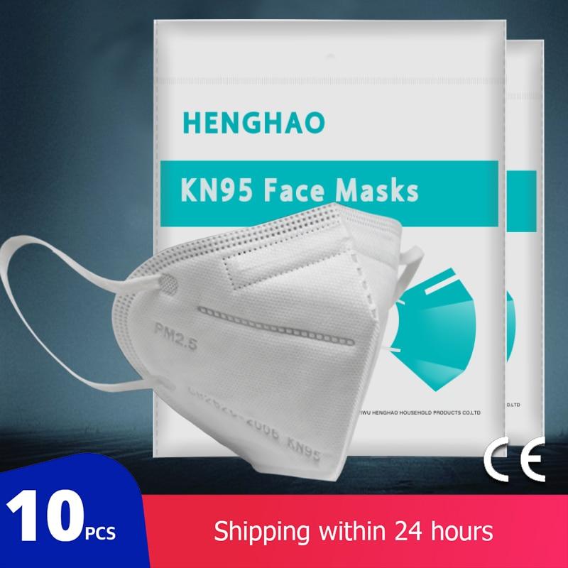 10 Pcs KN95 Women Men Anti-fog Breathable Face Masks 95% Filtration N95 Mouth Masks PM2.5 Dustproof Features White