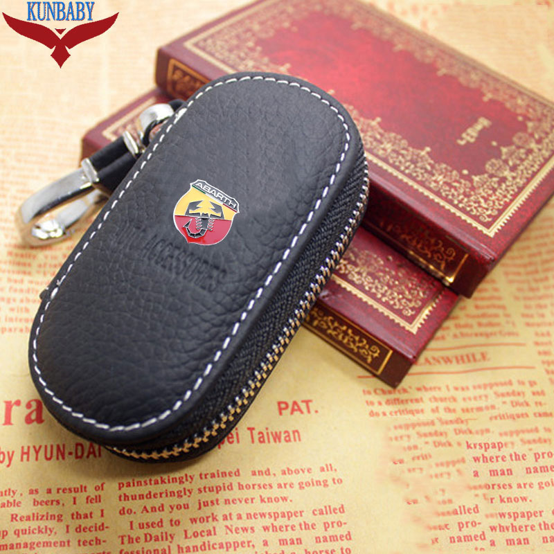 KUNBABY Genuine Genuine Leather Bag Car Key Case Cover Wallets Fashion Housekeeper Holders Carteira For ABARTH