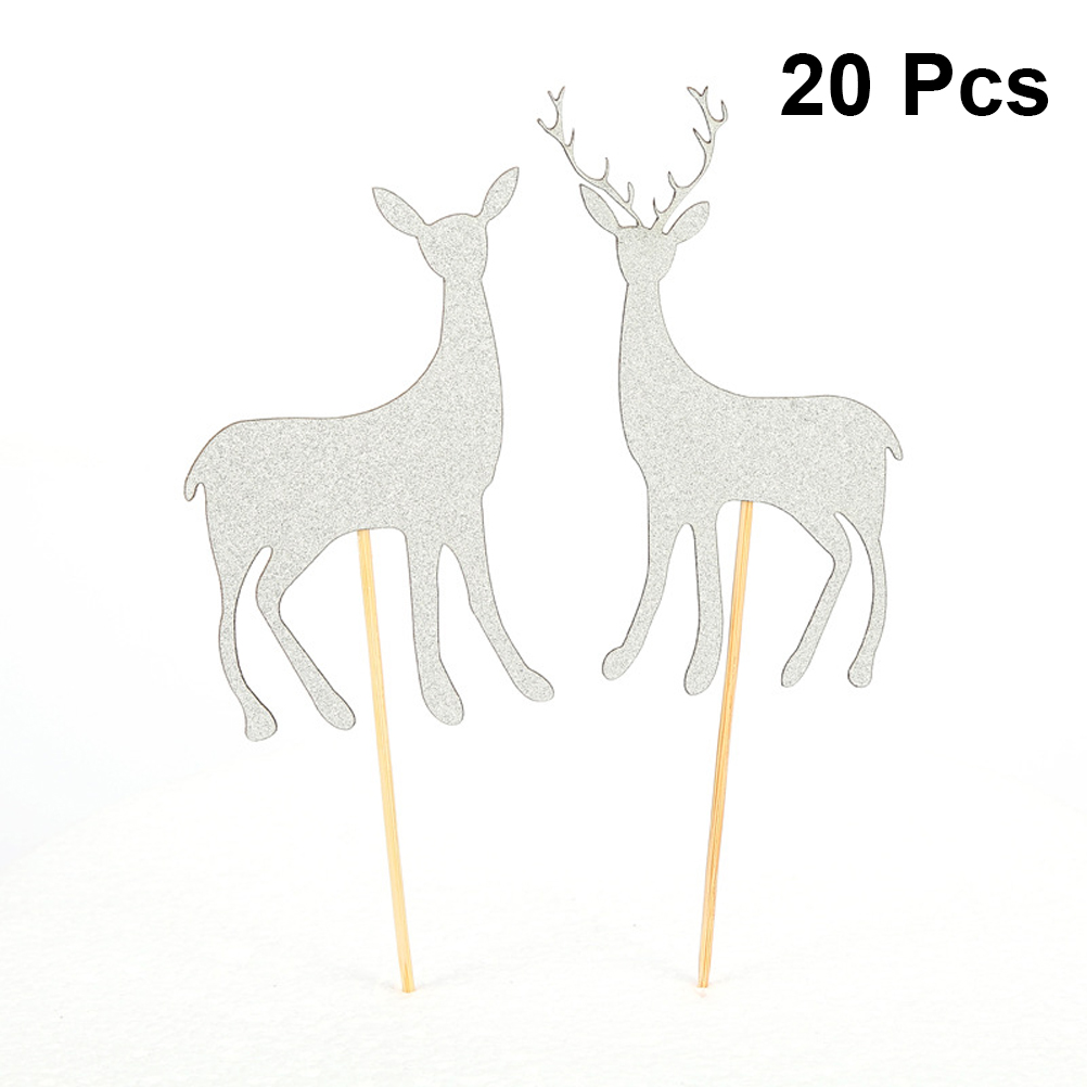 20 pcs Insert Card Deer Design Cute Attractive Decorative Delicate Cake Picks Fruit Dessert Biscuit Cake Decorations Christmas image