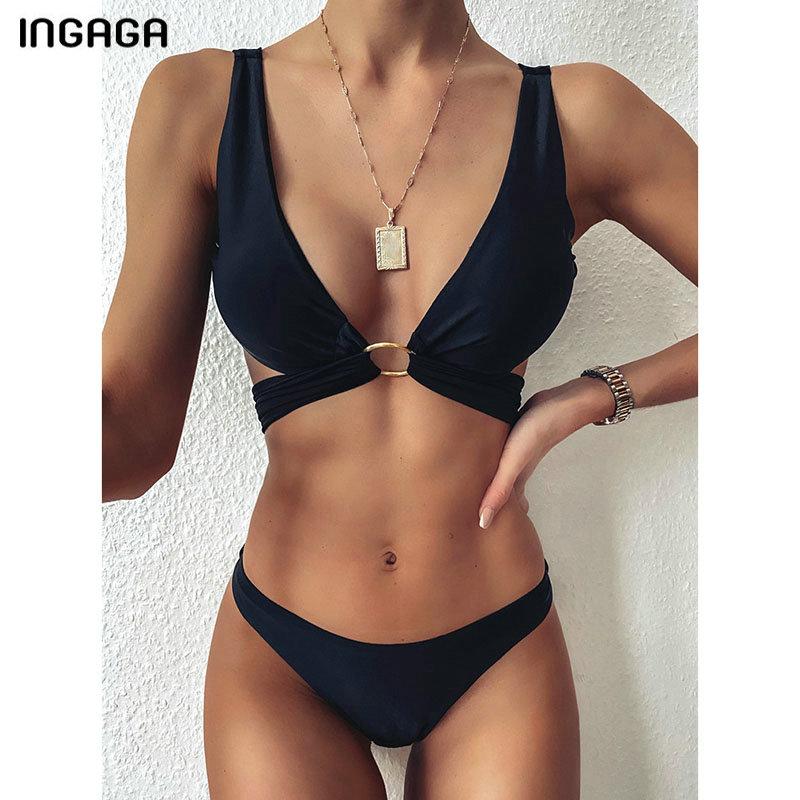 INGAGA 2021 Black Bikinis Swimsuits Cross Bandage Swimwear Women Solid Push Up Biquini Bathing Suit Women Sexy Padded Beach Wear