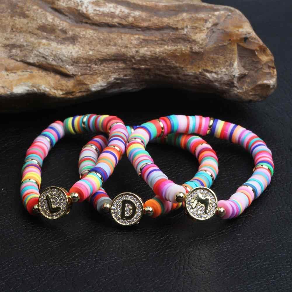 ใหม่ Boho Letter Rainbow Charm สร้อยข้อมือผู้หญิงแฟชั่น 26 ตัวอักษร CZ Cubic Zirconia Strand GOLD สร้อยข้อมือสำหรับเครื่องประดับหญิง
