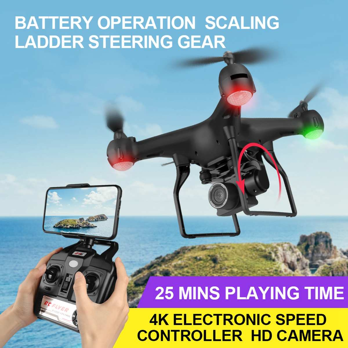 Aerial-Camera Drone 1080 Wide-Angle Newest Quadcopter Battery WIFI Foldable HD 4K