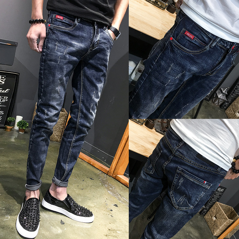 Wholdesale 2019 Spring Autumn Stretch Trousers Jeans Men's Slim Skinny Jeans Hombre Denim Thin Black Full Length Casual Pants