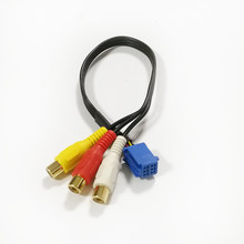 Biurlink áudio do carro 3rca aux jack cabo rca adaptador para toyota camry rav4 corolla