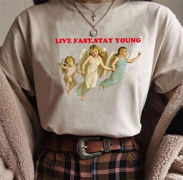 천사 너무 느리게 살기 위해 너무 오래 된 젊은 재미 있은 t-셔츠 가을 의류 여성 플러스 크기 고딕 t 셔츠