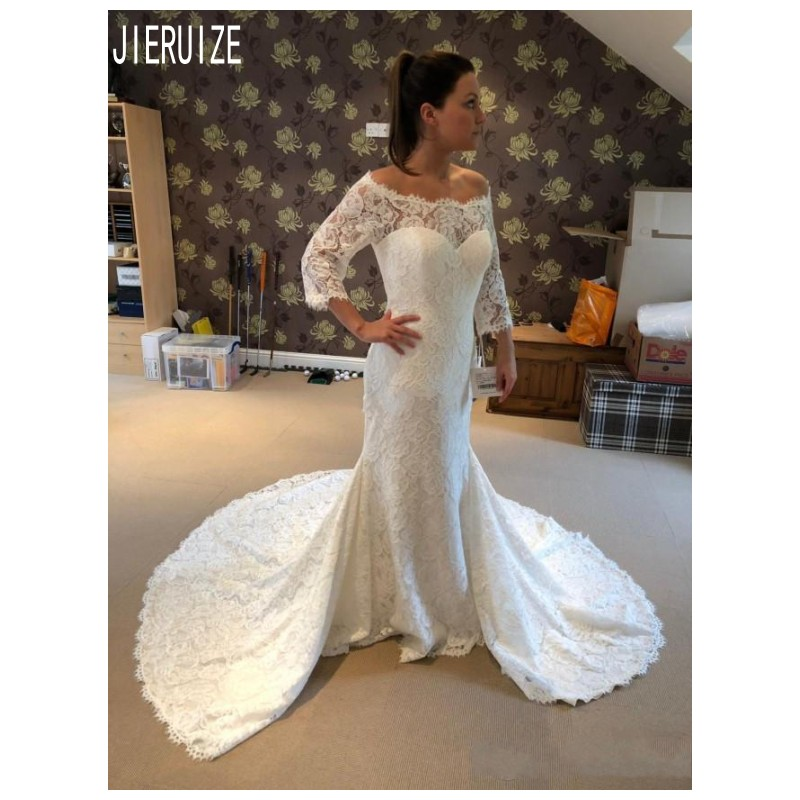 JIERUIZE Charming Lace Mermaid Wedding Dresses Scoop Neck 3/4 Long Sleeves Button Back Church Bridal Gowns Vestidoe De Noiva