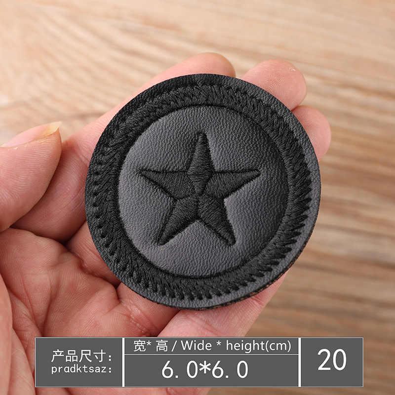 Czarne łaty skórzane na ubrania DIY paski żelazko na aplikacje do rękodzieła odzież naklejki litery hafty odznaki na plecak