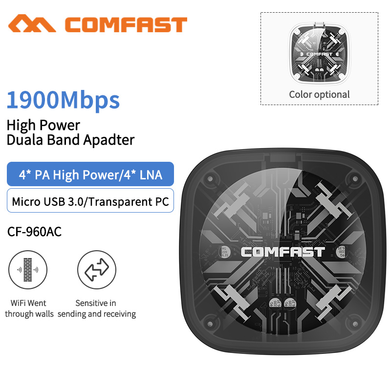 COMFAST 1900M 802.11AC Laptop Dual Band 2.4Ghz + 5Ghz USB 3.0 Wireless/WiFi AC Gigabit Adapter PC Wi Fi Dongle Adaptor CF-960AC