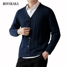 Mode pull décontracté hommes hiver Cardigan hommes tricot pull mâle simple boutonnage épais chandails pour hommes coton Cardigan chandails(China)