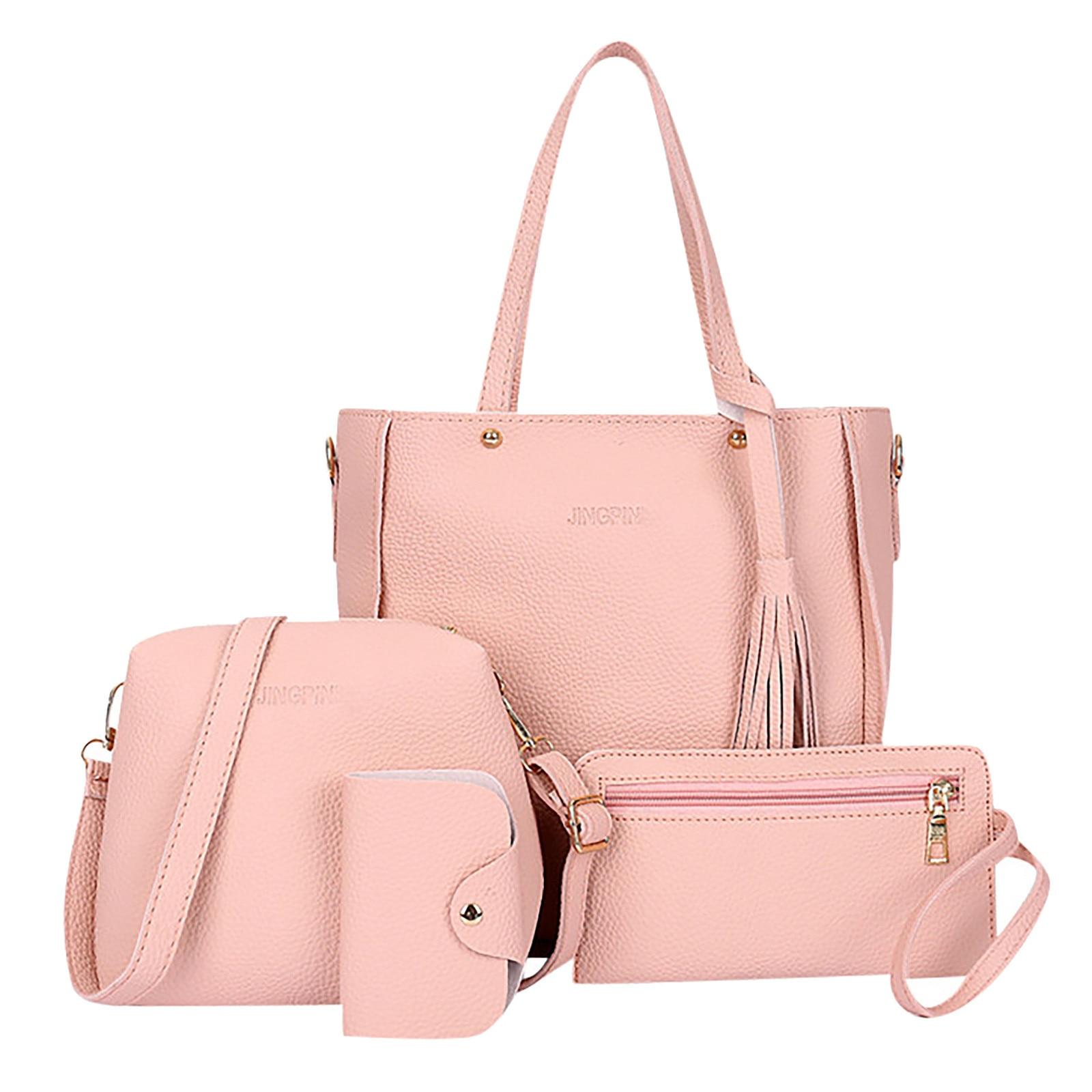 4PCS Handbag Set Women PU Leather Shoulder Bag Shoulder Messenger Bag Wallet Handbag Set Female Crossbody Bag Elegant Women 2021