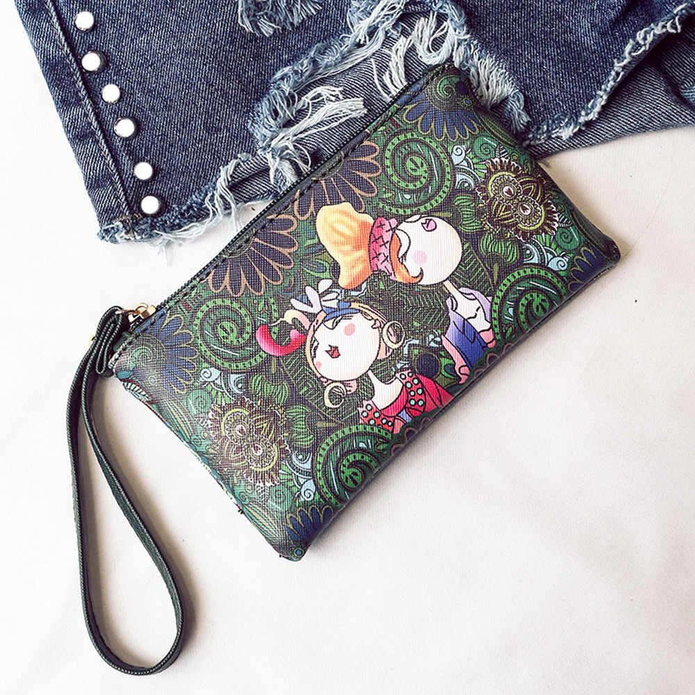 Kobiety luksusowy portfel moneta torebka wypoczynek leśne dziewczyny wzór drukowanie prostokątny zamek mała zmiana portfel Zipper torebki