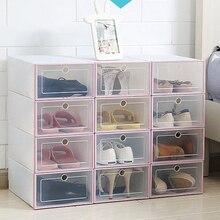 1 шт. прозрачная коробка для обуви пылезащитный ящик для хранения может быть наложен комбинированный шкаф для обуви раскладушка органайзер для обуви