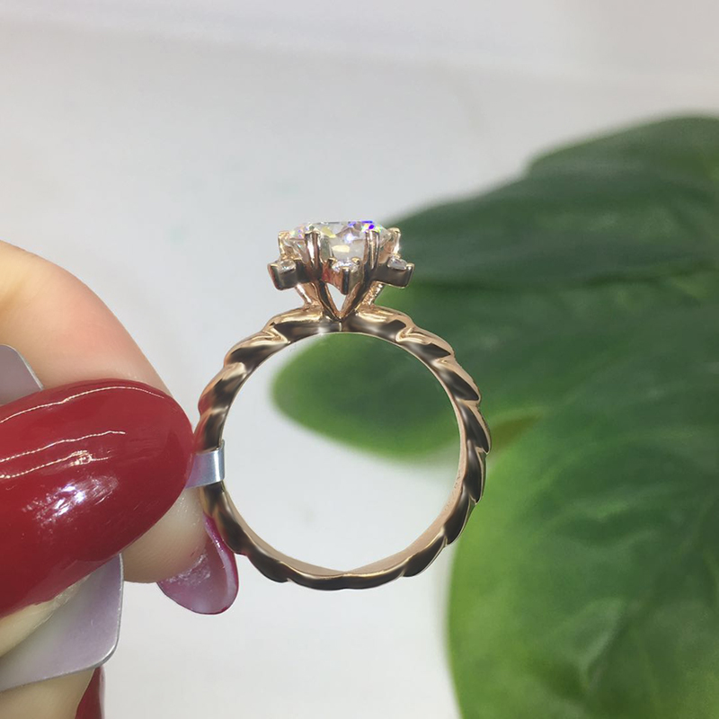 Discount¿Moissanite Ring Rose-Gold Flower-Shape Anniversary 14K Special Luxury-Style
