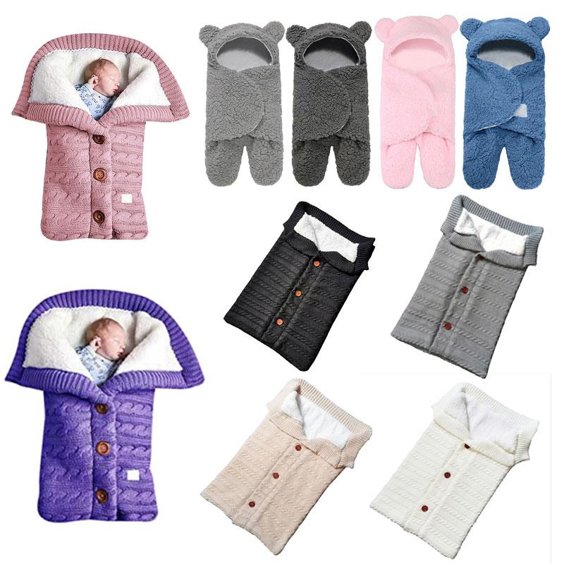 Newborn Baby Blanket Winter Warm Sleeping Bags Soft Swaddling Stroller Wrap Blanket for Infant Baby Kid Children Couverture bébé