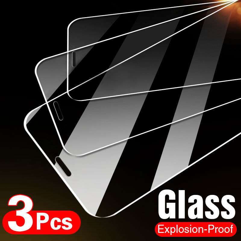 10D 3Pcs Tempered Glass On The For iPhone 7 8 6 6s Plus 5S SE Screen Protector For iPhone X XS XR 11 12 Pro Max Protective Glass 1