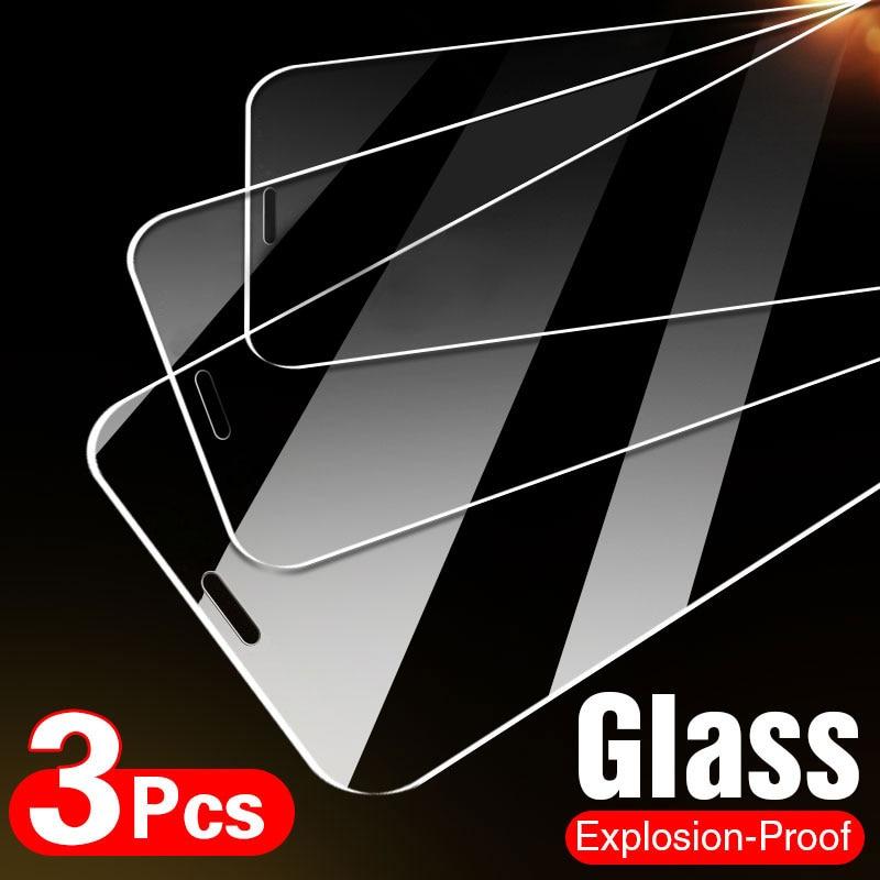 10D 3 piezas de vidrio templado en El para iPhone 7 7 6 6s Plus 5S SE Protector de pantalla para iPhone X XS X XR 11 12 Pro Max protectora de vidrio