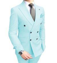 Solovedress Peak Lapel Double Breasted Solid Mens Prom Wedding Suit 2 Pieces RegularFit Casual Premium Aqua Blue Tuxedos