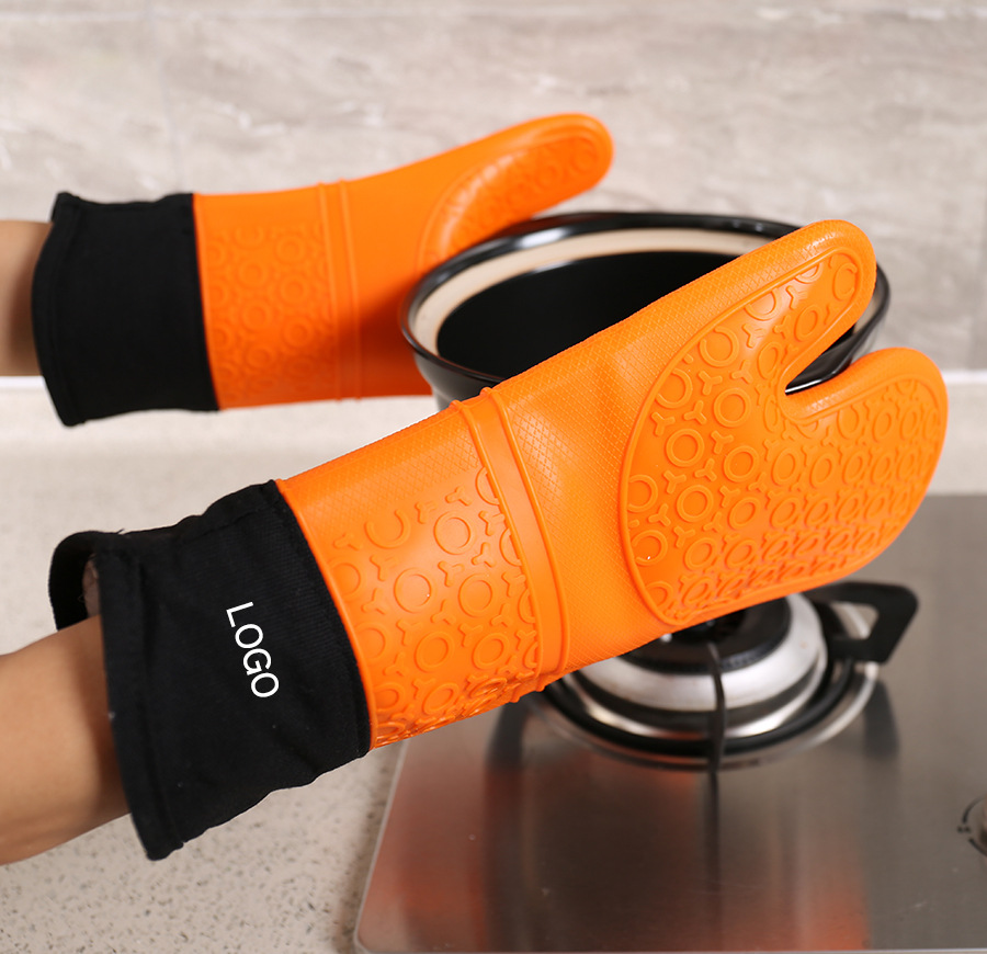 Long Plus Cotton Food Grade Silica Gel Cloth Gloves Microwave Oven Slip-resisting Silicone Gloves Insulation Gloves Household Ov