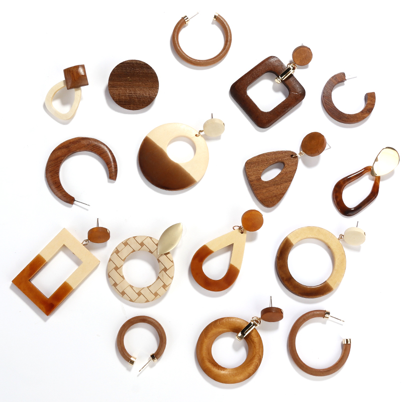 AENSOA Simple Geometric Circle Square Wooden Long Drop Earrings For Women Vintage Natural Splicing Hollow Wood Earrings Jewelry