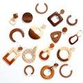 AENSOA Einfache Geometrische Kreis Quadrat Holz Lange Tropfen Ohrringe Für Frauen Vintage Natürliche Spleißen Hohl Holz Ohrringe Schmuck