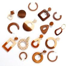AENSOA Simple círculo geométrico cuadrado largo de madera caída pendientes para las mujeres Vintage Natural de empalme de madera hueca pendientes de joyería
