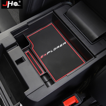 JHO Front Central Armrest Box Storage Tray Car Organizer Container For Ford Explorer 2020 XLT Limited Platinum ST Accessories