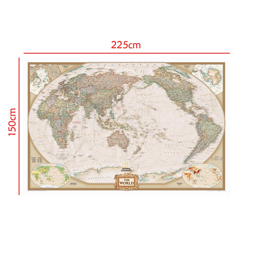 150x225cm Classic World Map Non Woven Map With Important Cities In Each Country For Trip