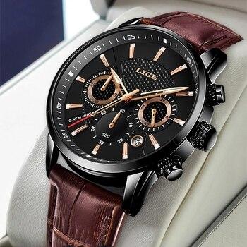 Lige novos relógios dos homens marca superior de luxo militar esporte relógio de couro à prova dwaterproof água relógio quartzo relógio de pulso relogio masculino + caixa 1