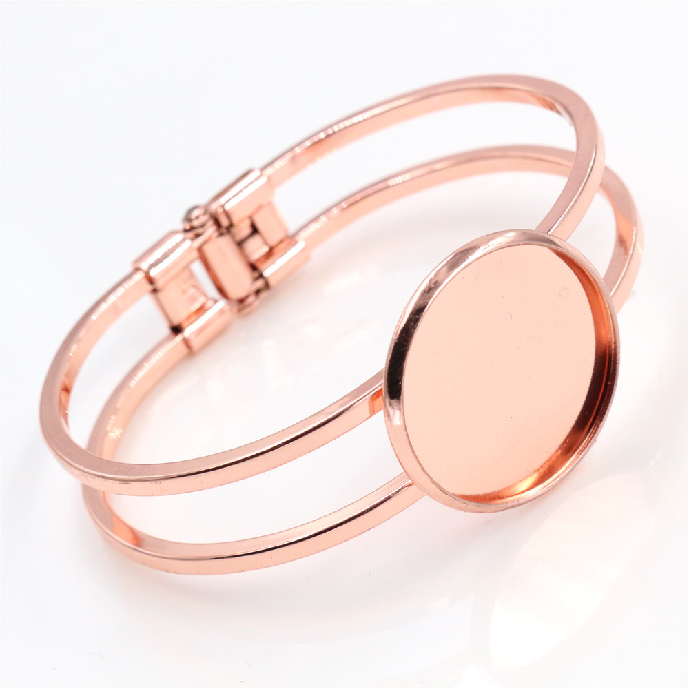 High Quality  25mm Rose Gold Color Plated Bangle Base Bracelet Blank Findings Tray Bezel Setting Cabochon Cameo (L6-17)