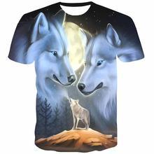 Мужская футболка с изображением животных 3d рисунком волка американского