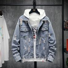 Hip Hop Denim Jacket Men Fashion Printing Casual Hole Denim Jacket Coat Man Streetwear Loose Bomber Jacket Men Large Size M-5XL fashion streetwear men jacket light blue large size m 5xl vintage denim jacket men casual coats printed designer hip hop jackets