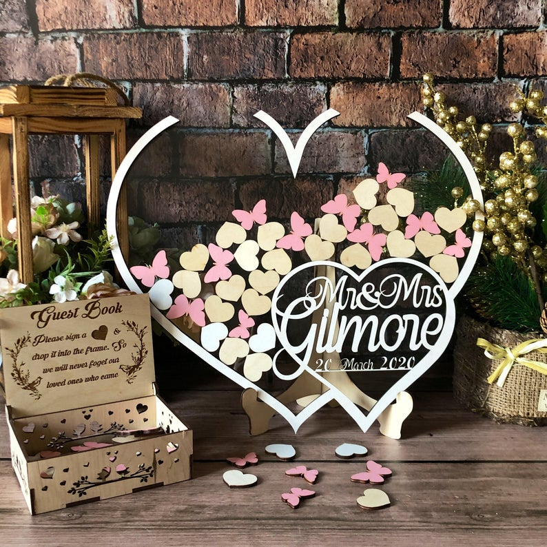 Acrylic Wedding Guest Book Alternative,White Wedding Guestbook,Drop Box Hearts,Transparent Heart,Drop Into The Frame,Heart Guest