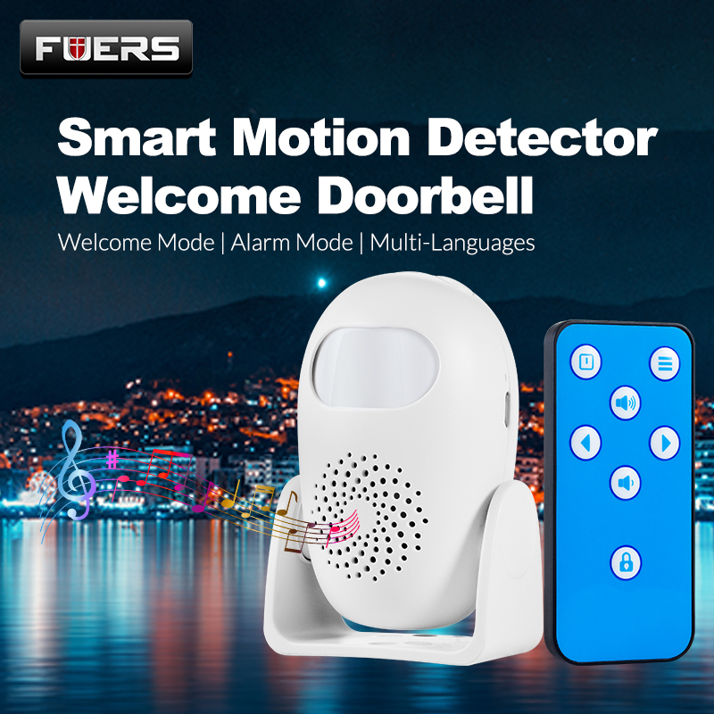 FUERS M120 Alarm Doorbell Home Security PIR Motion Detection Welcome Chime Doorbell Anti-theft Remote Control Strobe Light Greet