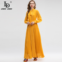 LD LINDA DELLA Long Sleeve Maxi Dress Women's Bow Collar Floral Embroidery Pleated Solid Long Dress Gown Formal Party Dresses ld linda della runway maxi dress women s flare sleeve belt casual bohemian party holiday lemon floral print long dress