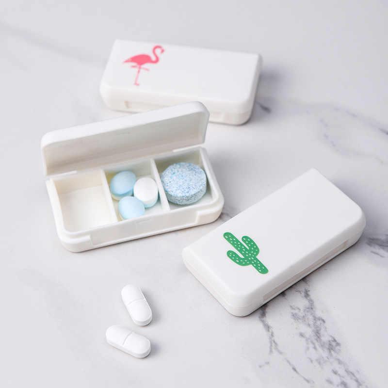 Flamingo przenośny Mini Pill Case medycyna pudełka 3 siatki podróży strona główna medycyna narkotyki pojemnik uchwyt do domu przypadki pudełko do przechowywania