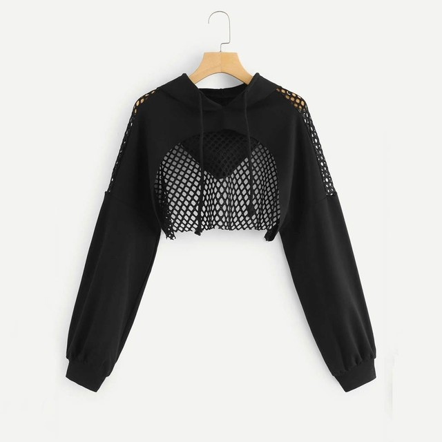 H40 Black Cropped Hoodie Women Hollow Out Crop Top Mesh Patchwork Short Sweatshirt Long Sleeve Autumn Tops With Hoody