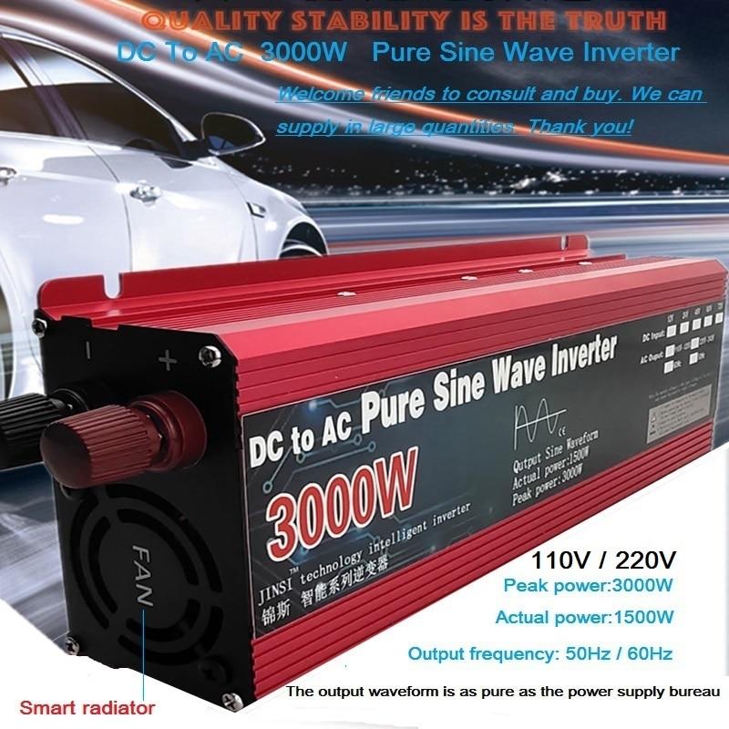 Onduleur à onde sinusoïdale Pure DC 12v/24v à ca 110V/220V 800W 1600W 2200W 3000W transformateur de tension convertisseur de puissance onduleur de voiture solaire