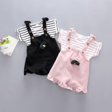 Summer T-shirt Baby Girl Clothes Set Striped T-shirt Cartoon Cute Cotton Shorts Girls Pocket Outfits 6M-4Y openwork lace splicing striped t shirt with pocket