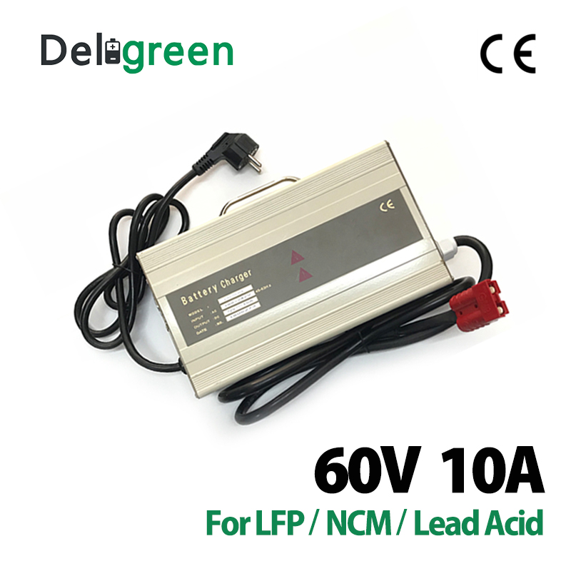 Deligreen Automatic 60V 10A Car Battery Charger 110V 120V Input for 16S Lithium ion 18650 DIY Pack With CE For Euro Market|charger for|charger 10a|60v charger - title=