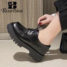 RIZABINA Neue Echt Leder Frauen Mode Wohnungen Schuhe Runde Kappe Schuhe Dicken Boden Klassische Schuhe Damen Schuhe Größe 34-39